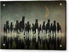 Horse Stampede In The Sea Acrylic Print