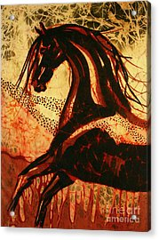 Horse Through Web Of Fire Acrylic Print by Carol Law Conklin