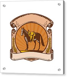 Horse Western Saddle Scroll Woodcut Acrylic Print
