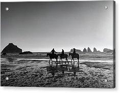 Horseback Storytelling Black And White Acrylic Print by Mark Kiver