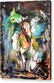 Horse,horseman And The Target Acrylic Print by Khalid Saeed