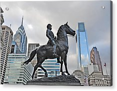Horseman Between Sky Scrapers Acrylic Print by Bill Cannon