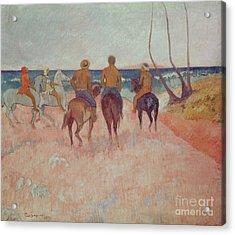 Horseman On The Beach Acrylic Print by Paul Gauguin