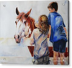Horses And Children Painting Acrylic Print by Maria's Watercolor