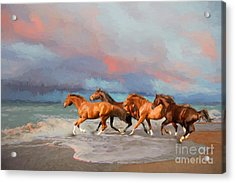 Horses At The Beach Acrylic Print