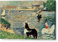 Horses In A River Acrylic Print by Georges Pierre Seurat
