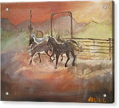 Acrylic Print featuring the painting Horses by Julie Todd-Cundiff