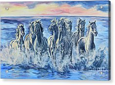 Horses Of The Sea Acrylic Print by Jana Goode