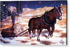 Horses Pulling Log Acrylic Print