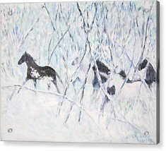 Horses Running In Ice And Snow Acrylic Print