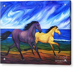 Acrylic Print featuring the painting Horses Running On The Beach by Dianne  Connolly
