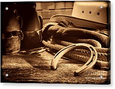 Horseshoe And Cowboy Gear Acrylic Print