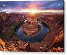 Horseshoe Bend Mega Sunset Acrylic Print