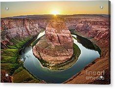 Horseshoe Bend Sunset Acrylic Print by Jamie Pham