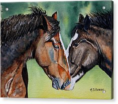 Horsing Around Acrylic Print by Maria Barry