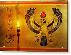 Horus Falcon God Acrylic Print by John Wills