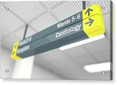Hospital Directional Sign Cardiology Acrylic Print