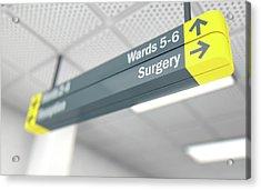 Hospital Directional Sign Surgery Acrylic Print