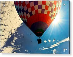 Hot Air Balloon Eclipsing The Sun Acrylic Print by Bob Orsillo