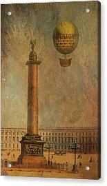 Acrylic Print featuring the digital art Hot Air Balloon Over St Petersburg And The Hermitage by Jeff Burgess