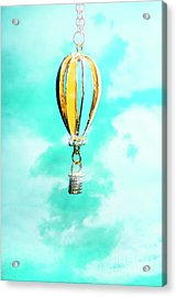 Hot Air Balloon Pendant Over Cloudy Background Acrylic Print