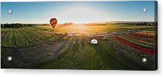 Acrylic Print featuring the photograph Hot Air Balloon Taking Off At Sunrise by William Lee