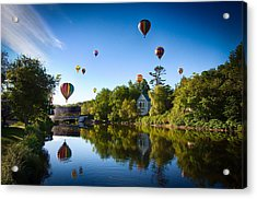 Hot Air Balloons In Queechee 2015 Acrylic Print by Jeff Folger