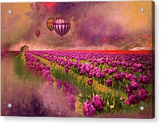 Acrylic Print featuring the photograph Hot Air Balloons Over Tulip Fields by Jeff Burgess