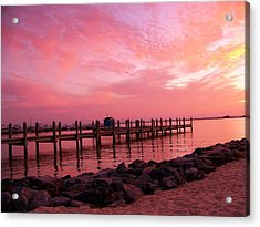 Hot Bay Sunset Acrylic Print by Trish Tritz