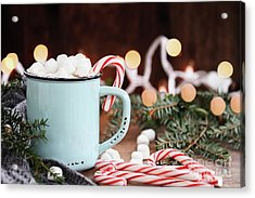 Acrylic Print featuring the photograph Hot Cocoa With Marshmallows And Candy Canes by Stephanie Frey