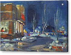 Hot Coffee In Cold Winter At Tim's With Viola Acrylic Print