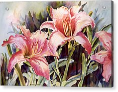 Acrylic Print featuring the painting Hot Lillies by Roxanne Tobaison