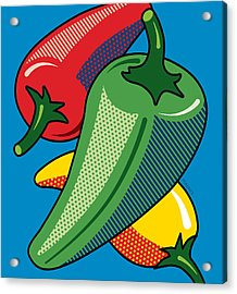 Hot Peppers On Blue Acrylic Print by Ron Magnes