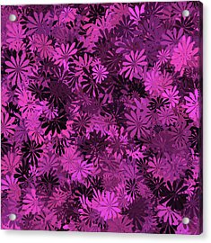 Hot Pink Floral Pattern Acrylic Print