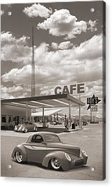 Hot Rods At Roy's Gas Station Sepia Acrylic Print