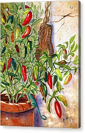 Acrylic Print featuring the painting Hot Sauce On The Vine by Marilyn Smith