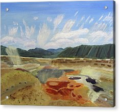 Acrylic Print featuring the painting Hot Springs by Linda Feinberg