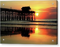 Hot Sunrise Over Cocoa Beach Pier  Acrylic Print
