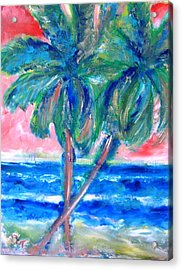 Hot Tropics With Palm Trees Acrylic Print
