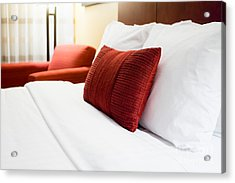 Hotel Room Bed Pillows Acrylic Print