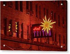 Hotel Triton Neon Sign Acrylic Print