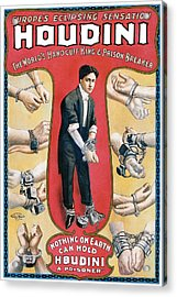 Houdini The Worlds Handcuff King Acrylic Print by Unknown