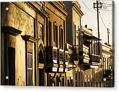House Facades Gilded By The Setting Sun Old San Juan Puerto Rico Acrylic Print by George Oze