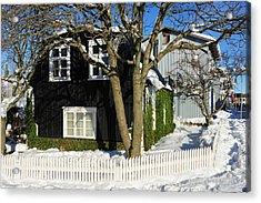 House In Reykjavik Iceland In Winter Acrylic Print by Matthias Hauser