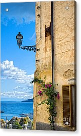 House With Bougainvillea Street Lamp And Distant Sea Acrylic Print