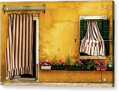 House With Drapes Burano Italy Acrylic Print by Xavier Cardell
