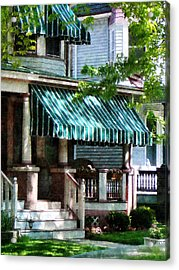 House With Green Striped Awnings Acrylic Print by Susan Savad