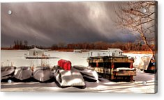 Houseboats In Winter Acrylic Print by Brian Fisher