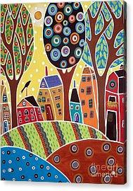 Houses Barn Landscape Acrylic Print by Karla Gerard