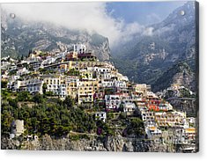 Houses Built On A Hillside Positano Italy Acrylic Print by George Oze
